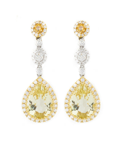 Citrine and Diamond Long Shape Earring