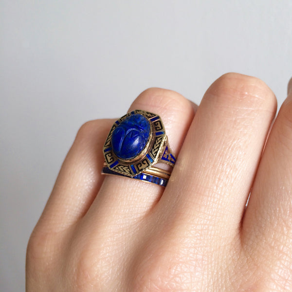 Art Deco Egyptian Revival Enamel Lapis Scarab Ring