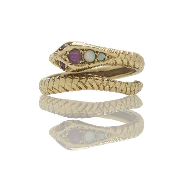 Art Deco Opal + Garnet Snake Ring
