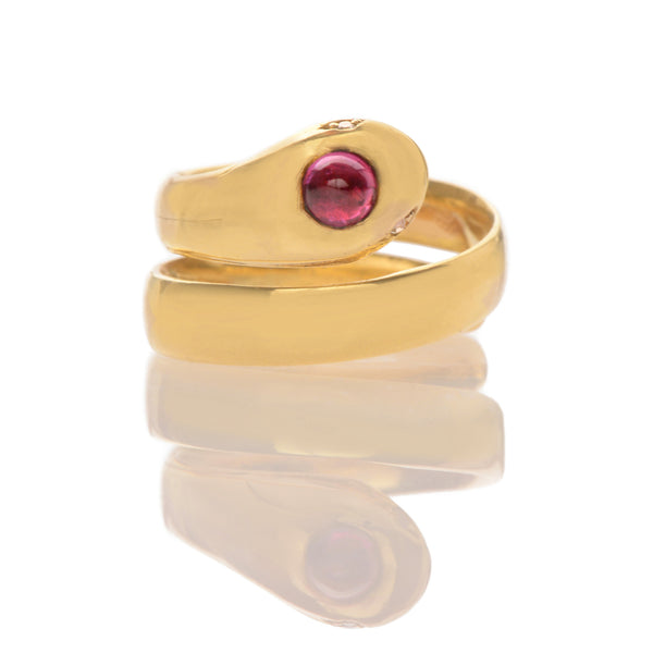 Art Deco Ruby + Diamond Snake Ring