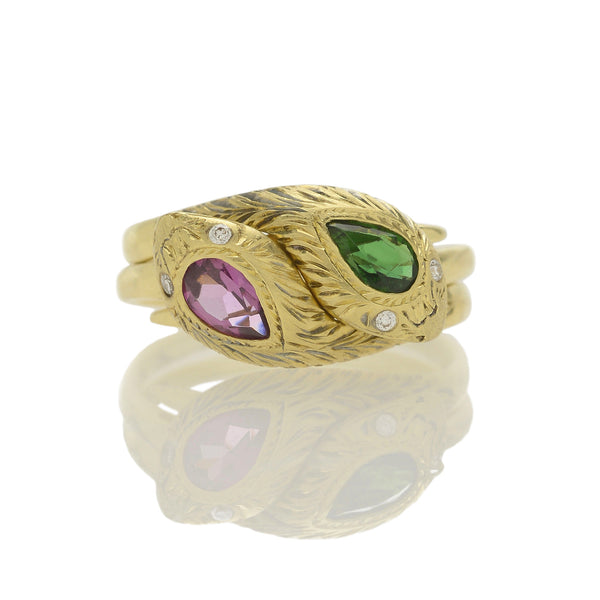 Entwined Double Snake Ring