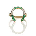 Edwardian Emerald Diamond Horseshoe Ring
