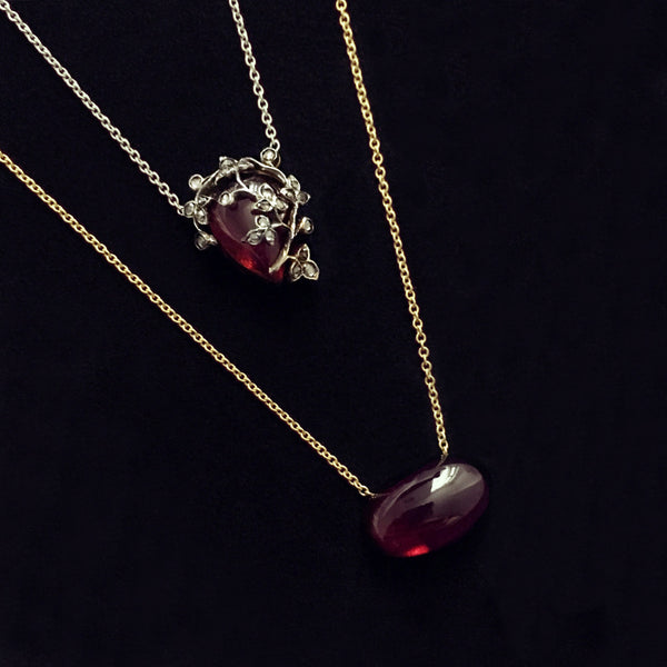 Georgian Diamond + Garnet Giardinetti Necklace