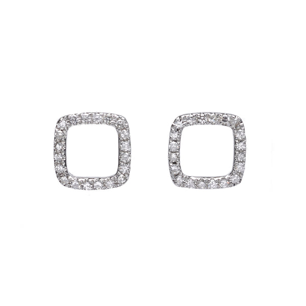 Pavé Diamond Geometric Stud Earrings