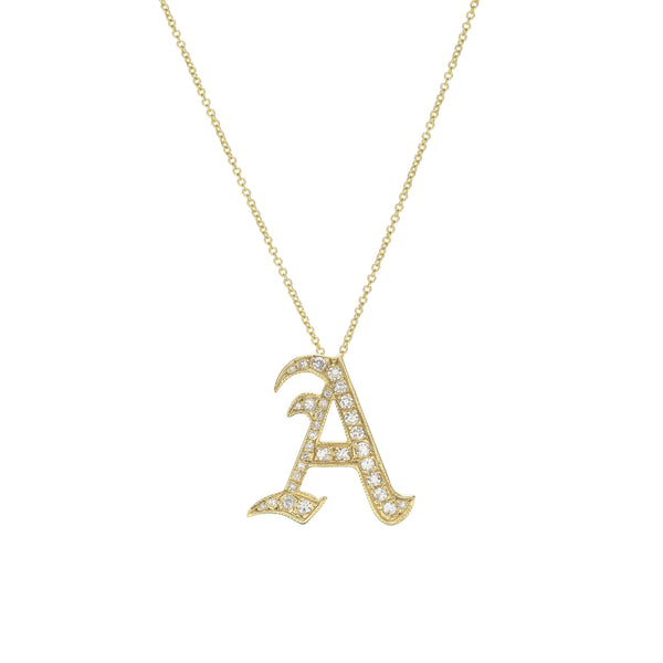 Pavé Gothic Initial Necklace
