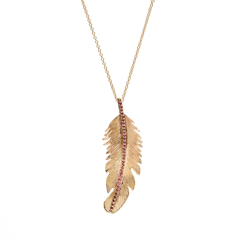 Pavé Feather Pendant