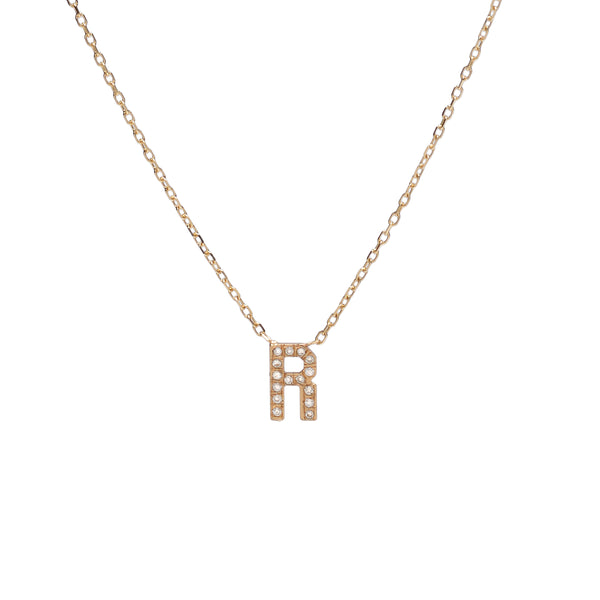 Simple Petite Pavé Diamond Initial Necklace
