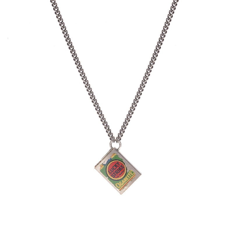 Retro Sterling + Enamel Lucky Strike Cigarette Necklace