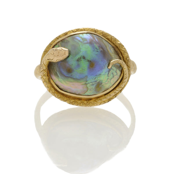 Victorian Abalone Blister Pearl Engraved Snake Ring