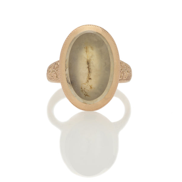 Victorian Chased Moss Agate Ring
