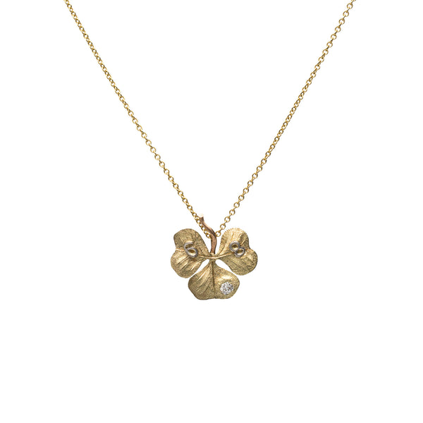 Victorian Old Mine Cut Diamond Clover Necklace