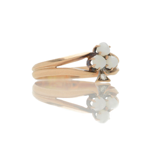 Victorian Opal + Old Cut Diamond Clover Ring