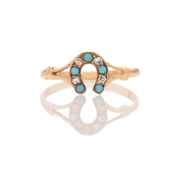 Edwardian Turquoise + Diamond Horshoe Ring