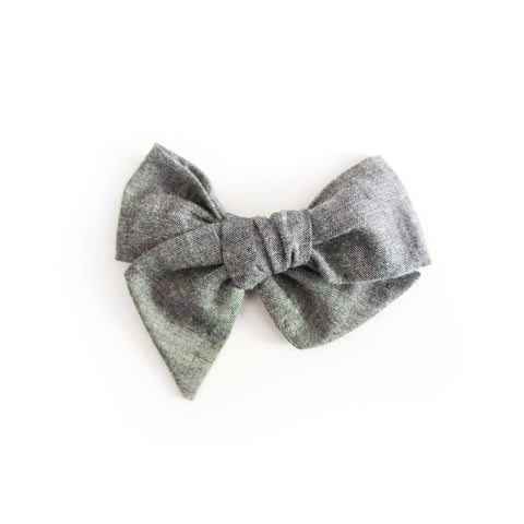 Gray Chambray Bow / Bow Tie