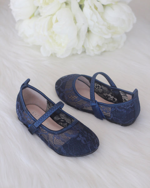girls navy lace flats