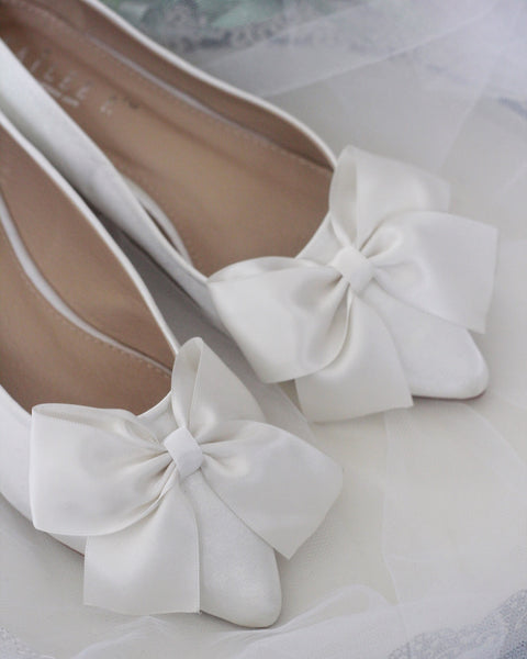 OFF WHITE Satin Pointy Toe Flats with Oversized Bow