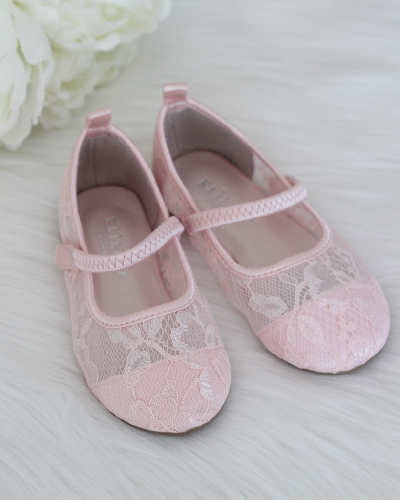 Girls Shoes - PINK New Lace Maryjane Flats ,Kids Shoes- Kailee P