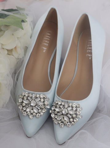 LIGHT BLUE Satin Pointy Toe Flats with Oversized Brooch