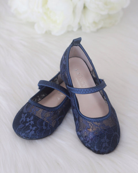 toddler navy lace flats