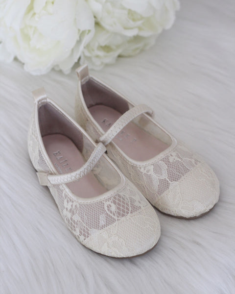 Girls Shoes - IVORY New Lace Flats Maryjane Flats ,Kids Shoes- Kailee P