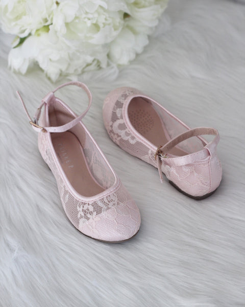 Girls Shoes - Light Pink New Lace Ballet Flats With Ankle Strap ,Kids Shoes- Kailee P