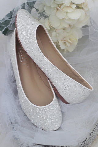 WHITE Rock Glitter Slip on Flats
