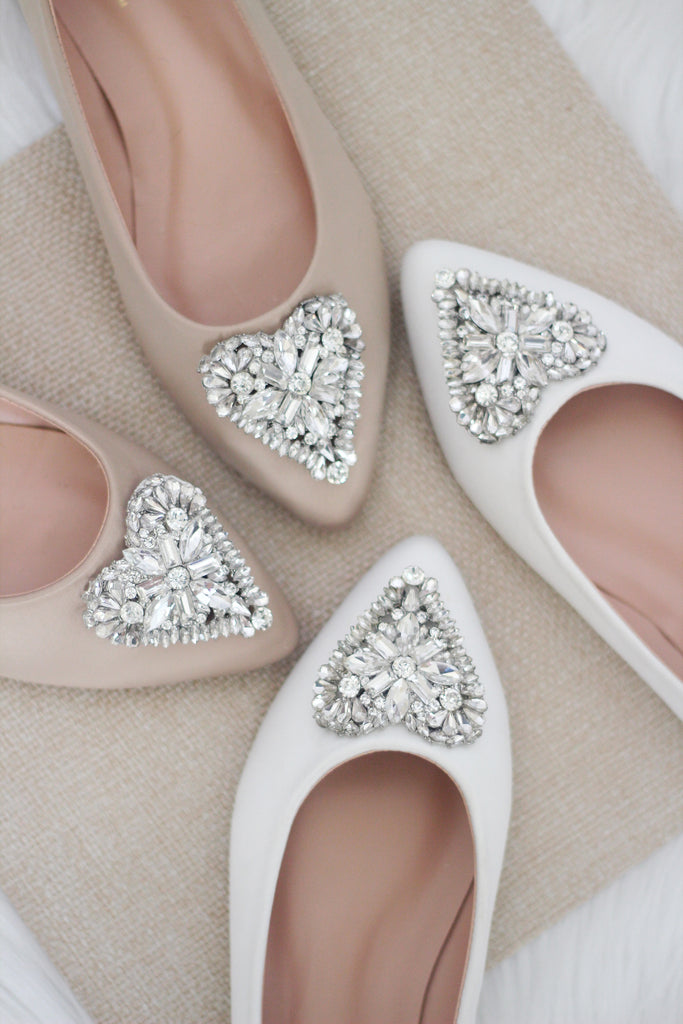 500b2245a777 WHITE Pointy Toe Flats with Heart Shaped Jewels – Kailee P. Inc.