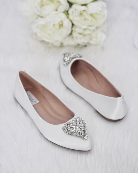 WHITE Pointy Toe Flats with Heart Shaped Jewels ,Women Shoes- Kailee P