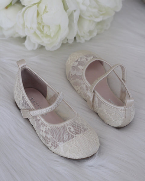 girls ivory lace shoes