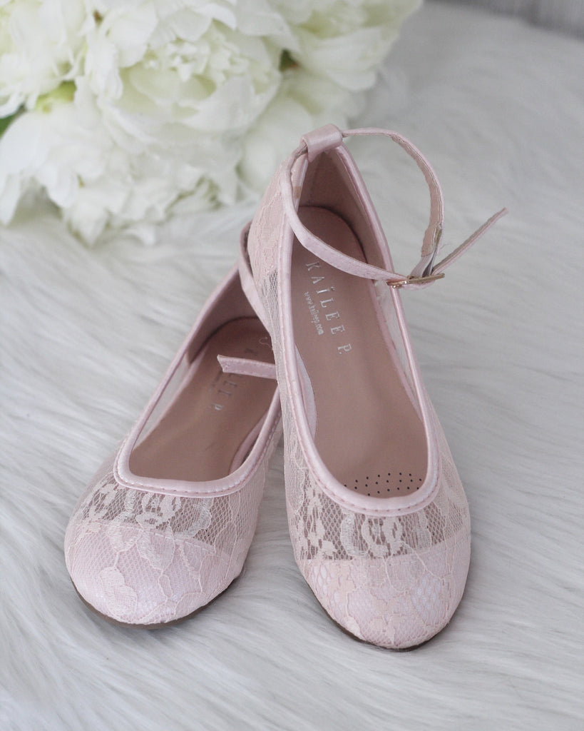 PINK New Lace Ballet Flats With Ankle