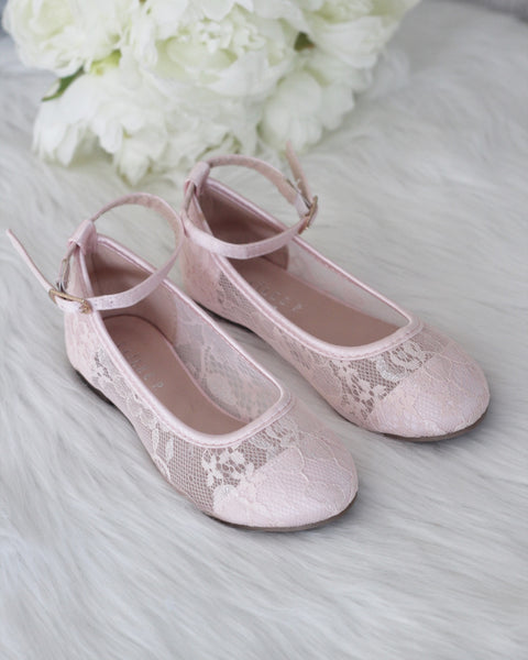 light pink lace shoes for girls