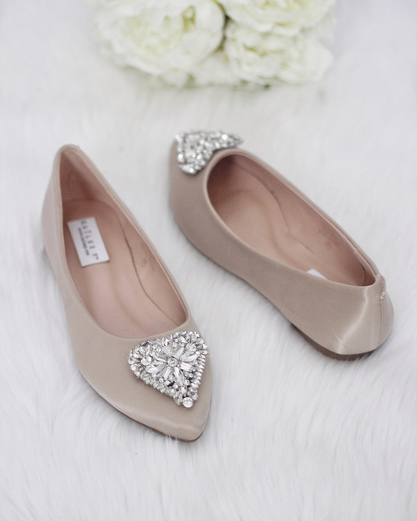 289f917b6703 CHAMPAGNE Pointy Toe Flats with Heart Shaped Jewels – Kailee P. Inc.