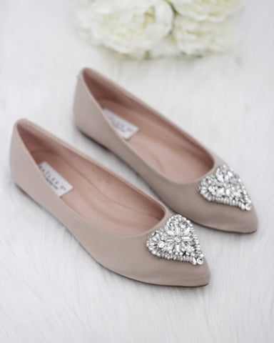 CHAMPAGNE Pointy Toe Flats with Heart Shaped Jewels ,Women Shoes- Kailee P