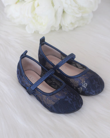 Girls Shoes - NAVY New Lace Flats Maryjane Flats ,Kids Shoes- Kailee P