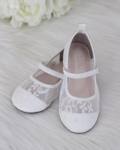 Girls Shoes - WHITE New Lace Maryjane Flats ,Kids Shoes- Kailee P