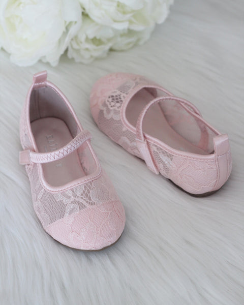 pink Mary Jane shoes with lace