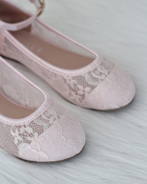 pink lace shoes with ankle strap