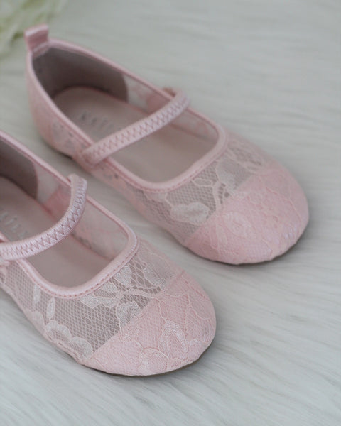 flower girl pink lace shoes