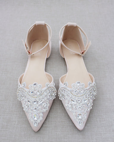 Blush Satin Pointy Toe Flats with RHINESTONES APPLIQUE Embellishments