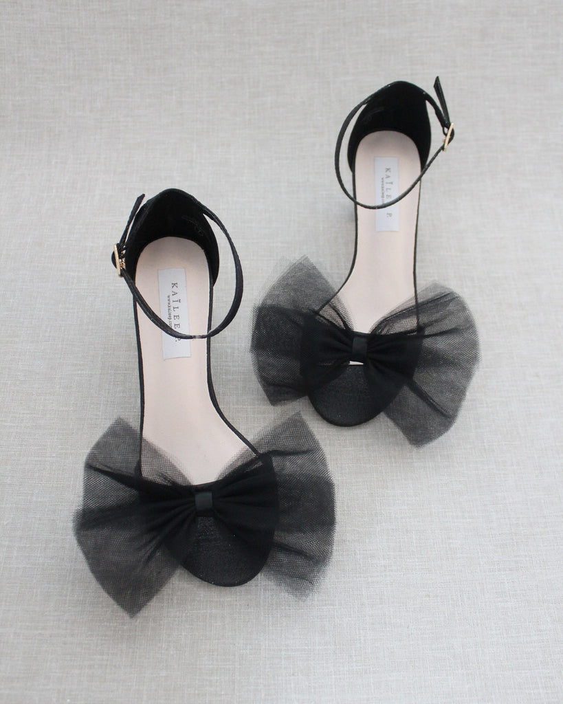 BLACK Shimmer Low Block Heel Sandals with Front Oversized TULLE BOW