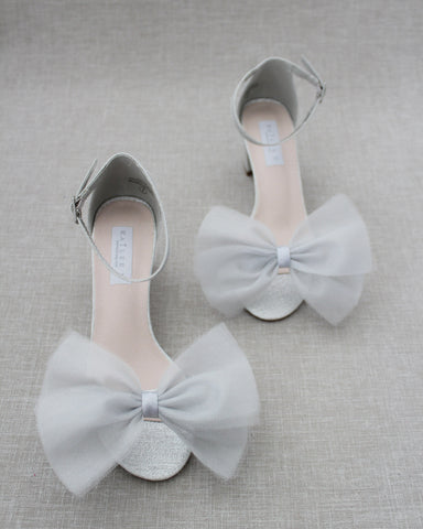 SILVER Shimmer Low Block Heel Sandals with Front Oversized TULLE BOW