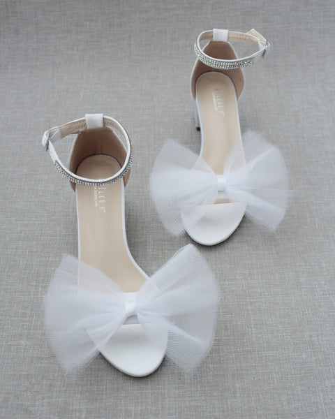 White Satin Block Heel Sandal with Front Oversized TULLE BOW