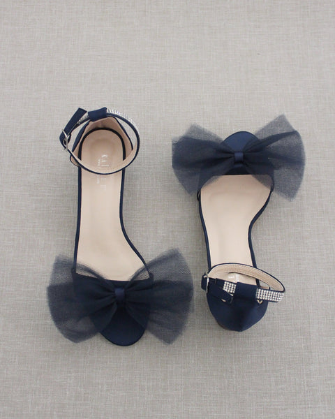 Navy Satin Block Heel Sandal with Front Oversized TULLE BOW