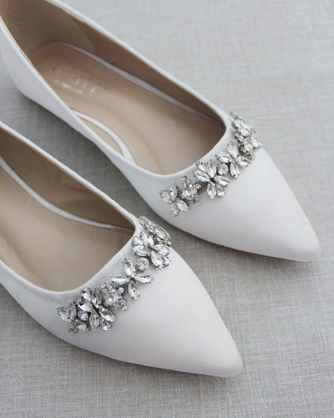 OFF WHITE Satin Pointy Toe Flats with FLORAL RHINESTONES Embellishments