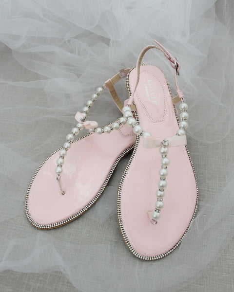 Women Flat Sandals - T-Strap PINK Pearl Sandals With Rhinestones Embellishments