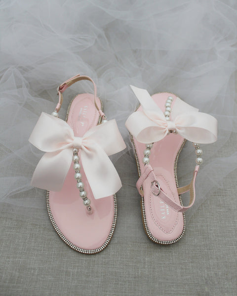 PINK T-Strap Pearl Flat Sandals with Oversized Satin Bow