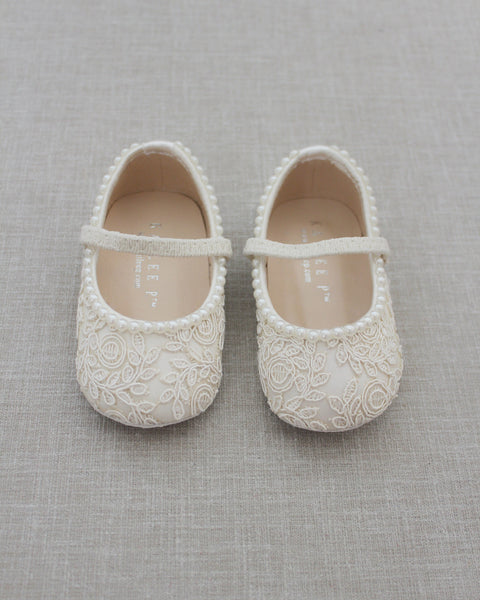 IVORY Crochet Lace Mary Jane Flats with MINI PEARLS