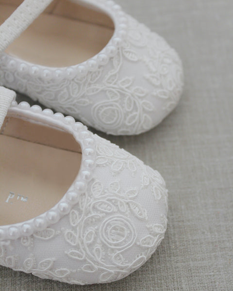 White Crochet Lace Mary Jane Flats with MINI PEARLS