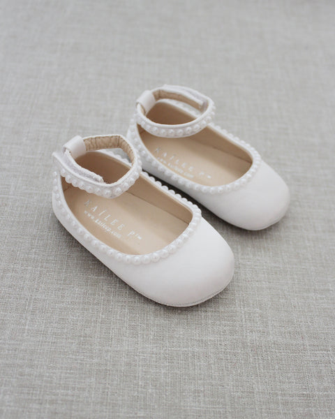 White Satin Flats with MINI PEARLS