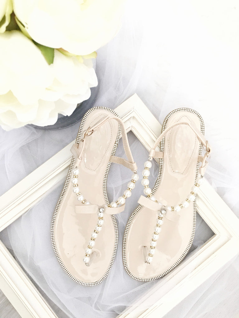 749807c0a4bc00 ... BEIGE T-Strap Wedding Pearl Sandals With Rhinestones Embellishments